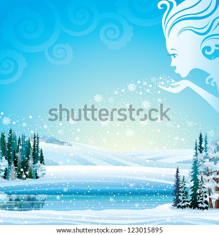 Winter-Girl blows snowflakes in the trees, fields and a lake. Vector magical winter landscape. - stock vector