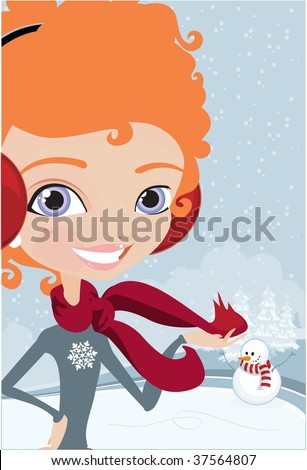 winter girl in snowy background