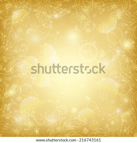 Winter gold background with ornamental frame and bokeh texture - stock vector