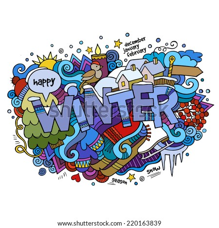 Winter hand lettering and doodles elements background. Vector illustration - stock vector