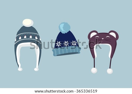 Winter hat icon. Knitted winter cap. Set winter hat isolated. Winter hat and cap. Isolated winter hat. Flat icon winter hat cap. Winter hat. Winter cap. Wool hat. Vector illustration - stock vector