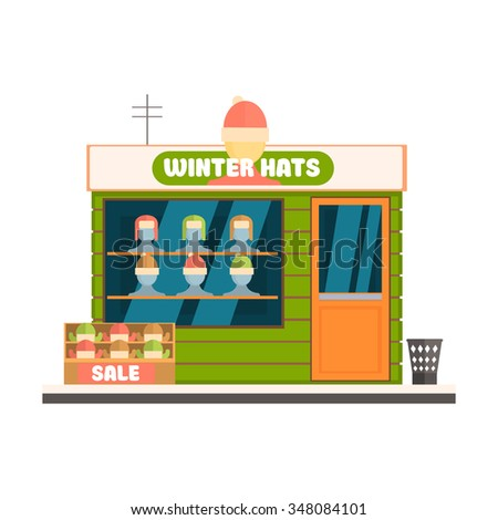 Winter Hats Store Front. Flat Vector Illustration - stock vector