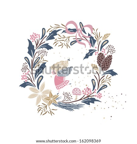 winter holiday card with wreath and little angel - stock vector