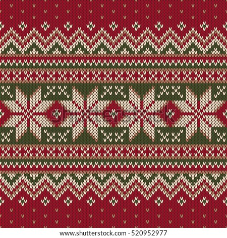 Winter Holiday Fair Isle Knitted Pattern Stock Vector 520952977 ...