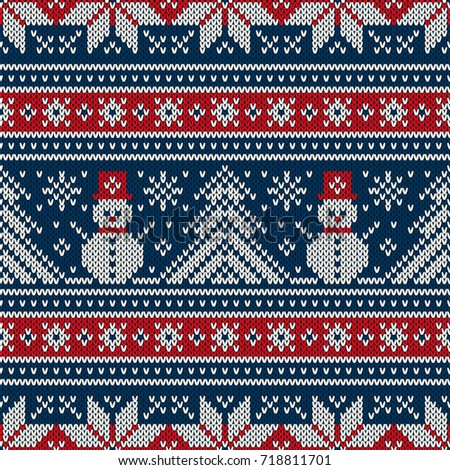 Winter Holiday Knitting Pattern Snowman Christmas Stock Vector