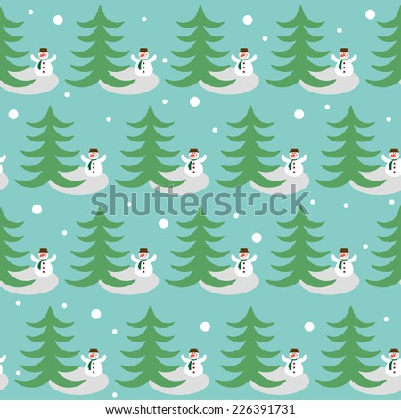 Winter holiday pattern background with funny snowman and fir - stock vector