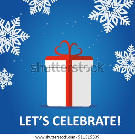 winter holiday poster with a gift box