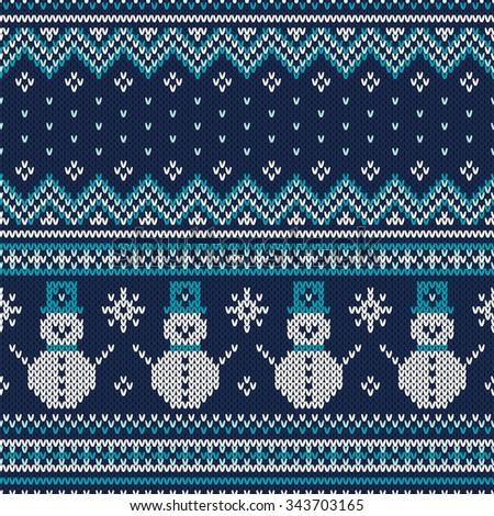 Winter Holiday Seamless Knitted Pattern. Fair Isle Sweater Design - stock vector