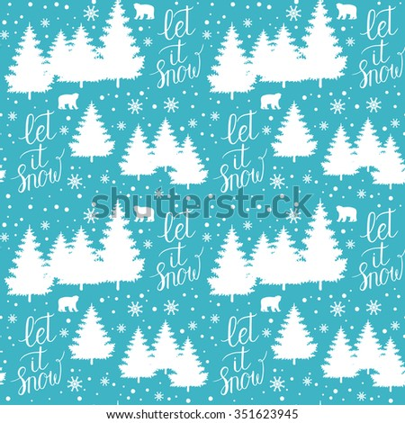 Winter Holiday seamless pattern with christmas trees, bears, snowflakes. Vector falling snow background for christmas card.