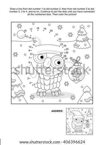 Winter Holiday Themed Connect Dots Picture Stock Vector 406396624 ...