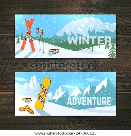 Winter  holidays alpine skiing  landscape with goggles gloves and poles horizontal banners set abstract isolated vector illustration - stock vector