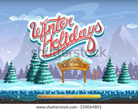 Winter holidays boot screen window for the computer game - stock vector