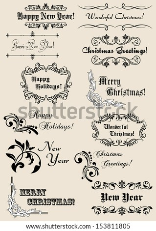 Winter holidays calligraphic elements with scripts and decorations for Christmas or New Year design. Jpeg version also available in gallery