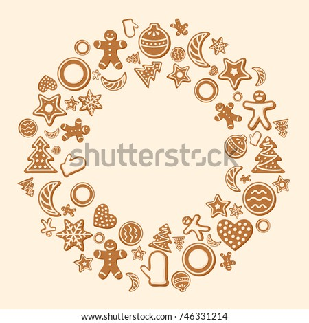 Winter holidays card template with ginger cookies vector illustration for christmas and new year greeting