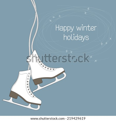 Winter holidays card with ice skates and blade trails - stock vector