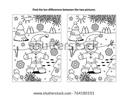 winter holidays christmas or new year themed find the ten differences picture puzzle and coloring