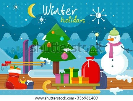 Winter holidays concept design. holiday, winter, christmas, winter wonderland, winter scene, winter background, snow and tree, snowman and celebration, sled and xmas, new year illustration - stock vector