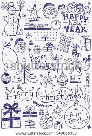 winter holidays doodles - stock vector