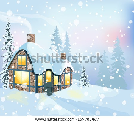 Winter holidays landscape. Christmas vector Illustration with house and snowy forest.