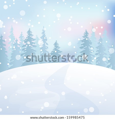 Winter holidays landscape. Christmas vector Illustration with snowy forest.