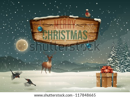 Winter holidays landscape with wooden sign. Vector Illustration. - stock vector