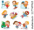 Winter holidays. Little girl sculpts snowman, skating, skiing, sledding, dresses up Christmas tree, boy received a gift of a puppy, makes a snow angel, children playing in snowballs, vector set - stock photo