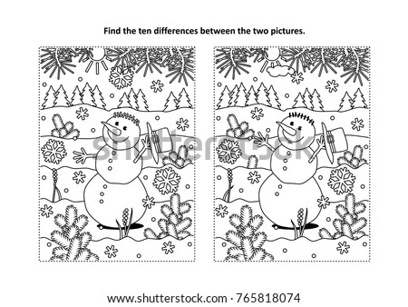 winter holidays new year or christmas themed find the ten differences picture puzzle and coloring