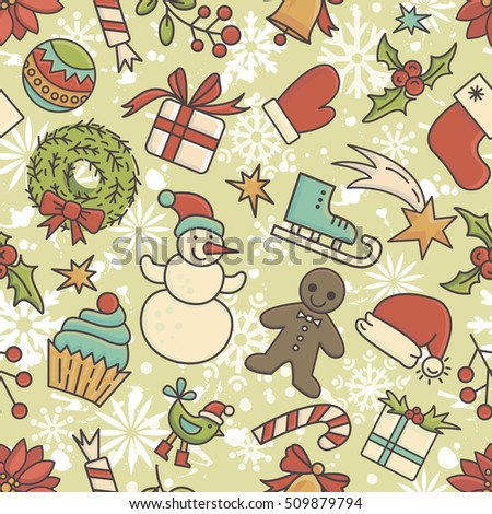 Winter Holidays Seamless Pattern All Objects Are Conveniently Grouped And Easily Editable