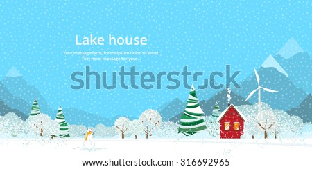 Winter, house on the lake in the mountains - stock vector