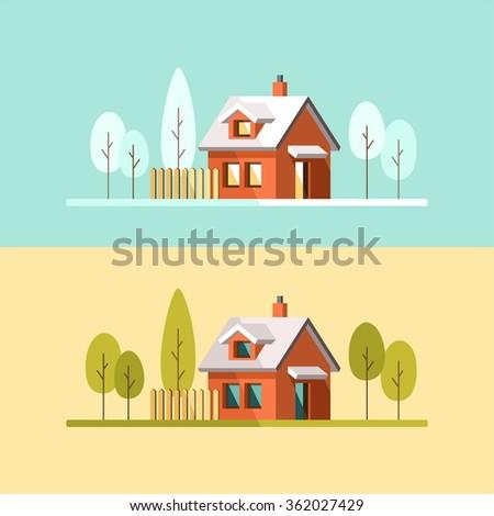 Winter house. Summer house. Family suburban home. Vector flat illustration. - stock vector