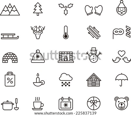 Winter icons - stock vector