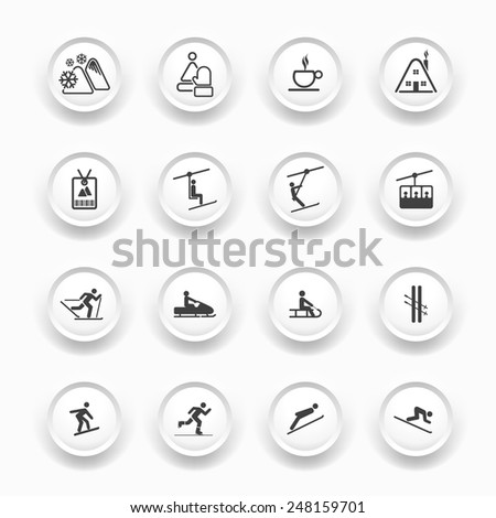 Winter Icons - Buttons Set - Ski sport / Resort - stock vector