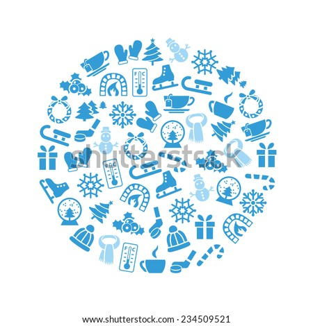 winter icons in circle  - stock vector