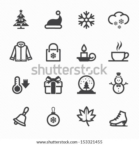 Winter Icons with White Background - stock vector