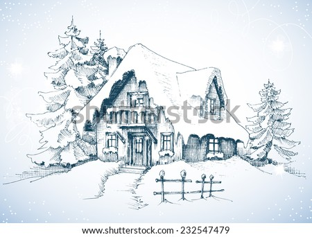 Winter idyllic landscape, pine trees and house in the snow - stock vector