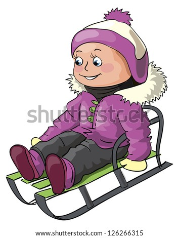 Winter illustration for children outdoor activity - a small girl riding on a sledge - stock vector