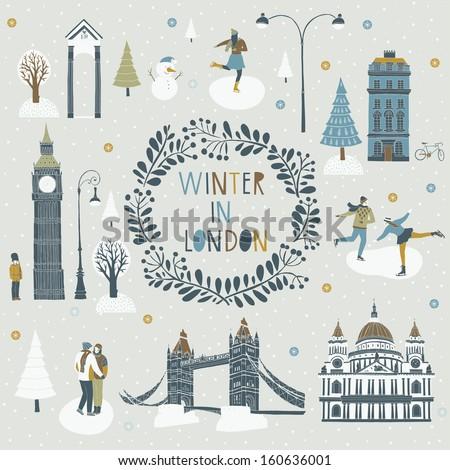 Winter in London - stock vector