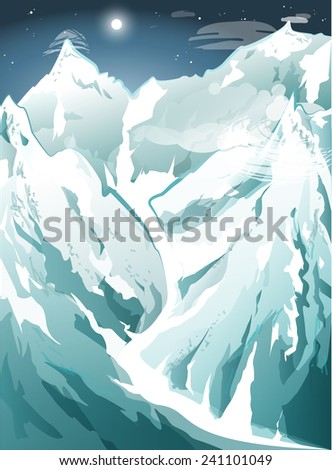 Winter in the mountains, during the night, with moon and stars and clear sky, EPS 10 - stock vector