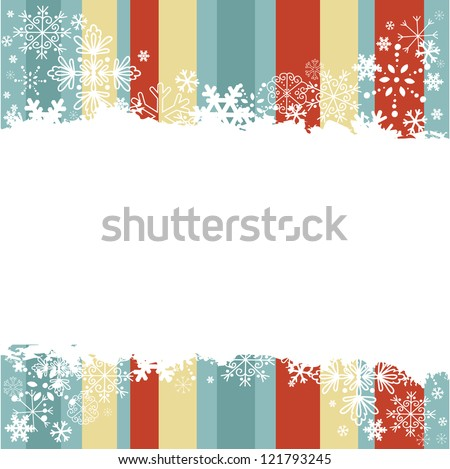 Winter invitation postcard with snowflakes and grungy empty  place for text - stock vector
