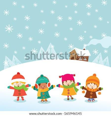 Winter Kids - stock vector
