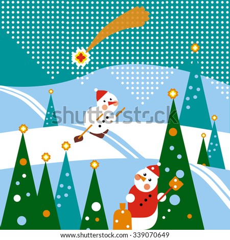 Winter kind holiday card with a snowman, a Christmas star and Christmas tree. Merry Christmas and New Year.  - stock vector