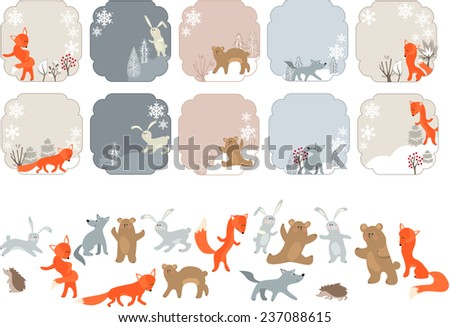Winter labels with forest animals. Animals isolated on white. - stock vector