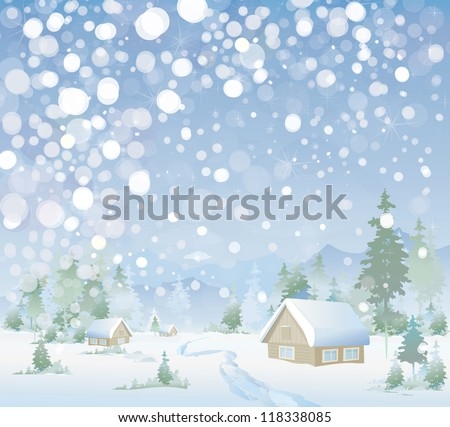 Winter landscape - stock vector