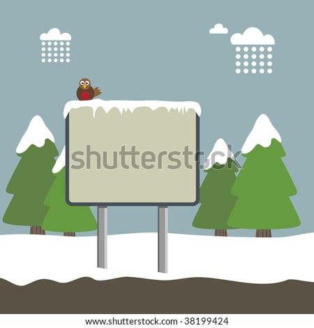 winter landscape background with signpost and robin - stock vector