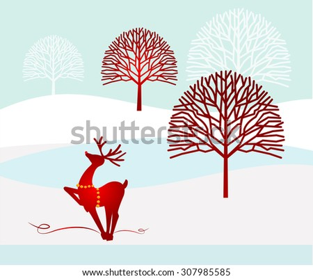 winter landscape bare trees and reindeer with bells for harness - stock vector