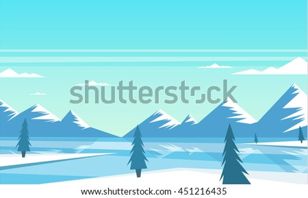 Winter landscape, beautiful landscape, mountains and trees, vector illustration, cartoon style - stock vector