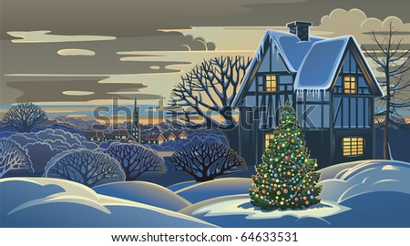 Winter landscape Christmas - stock vector