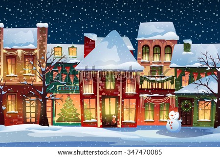 Winter landscape.Christmas background with fairy tale houses.  Snowy town at holiday eve.Vector illustration. - stock vector