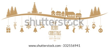 winter landscape christmas ornament hanging isolated background - stock vector