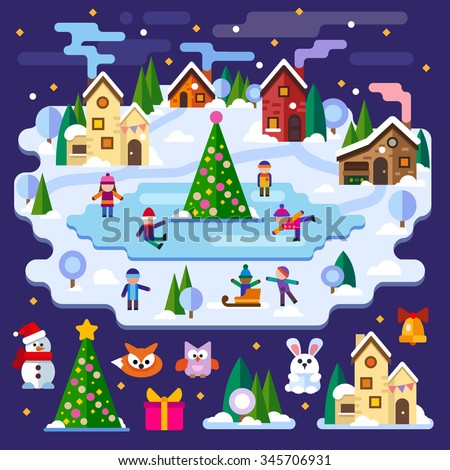 Winter landscape: Christmas tree, children are skating, houses, snowman, owl, fox, hare, gifts. Merry Christmas and Happy New Year.  Vector flat illustrations and icons - stock vector